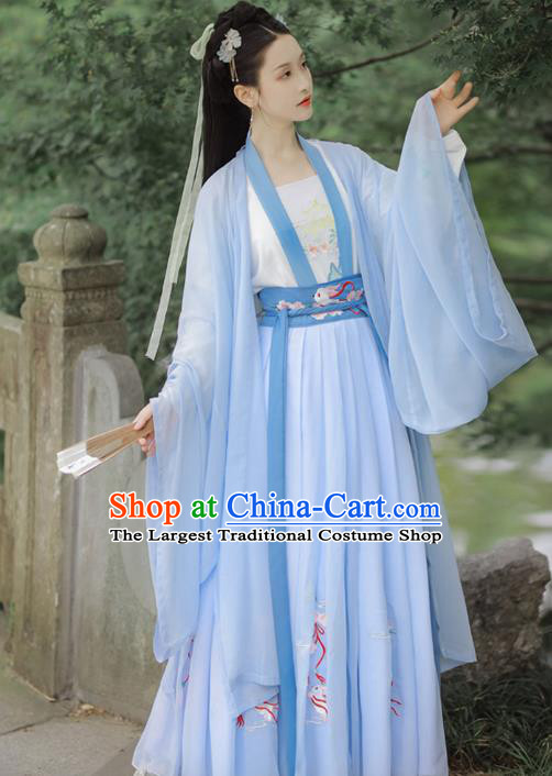 Chinese Tang Dynasty Costumes Ancient Noble Lady Embroidered Blue Cape Blouse and Skirt Traditional Hanfu Apparels