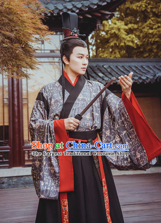 Traditional Chinese Jin Dynasty Prince Hanfu Apparels Ancient Nobility Childe Historical Costumes Full Set for Men